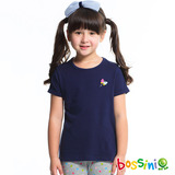 bossini女童-純棉素色短袖T恤05海軍藍(品特)