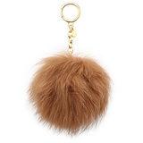MICHAEL KORS Pom Poms 雙色毛毛球鑰匙圈吊飾-淺駝色