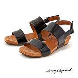 Easy Spirit--漆皮一字寬帶楔型涼鞋--經典黑