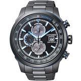 【CITIZEN 星辰】Eco-Drive 光動能黑色暴風計時腕錶-黑/45mm(CA0576-59E)