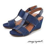 Easy Spirit--工字後拉帶楔型涼鞋--俐落藍