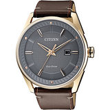 CITIZEN 星辰 光動能渦輪時尚腕錶-灰x玫瑰金框/42mm BM6982-11H