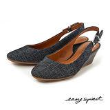 Easy Spirit--簡約時尚後拉帶式尖頭楔型鞋--舒適灰黑