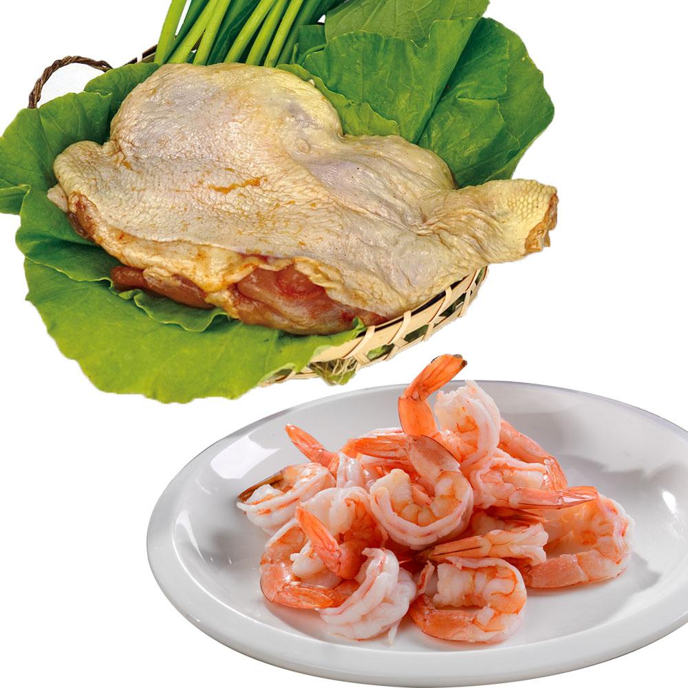 買2送2共4包【優食配】去殼切背鳳尾蝦+醬醃鮮嫩蒜香雞腿排2包組
