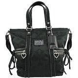 COACH POPPY燙金飾牌C Logo手提/側肩背托特包(黑)F20101