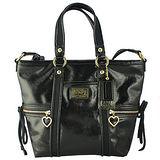 COACH POPPY亮面漆皮前口袋手提/側肩背托特包(黑色)F20047
