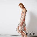 ICHE 衣哲 不規則波浪印花造型長版洋裝