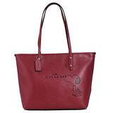 COACH Snoopy限量款防刮皮革托特包-(紅色)F37273