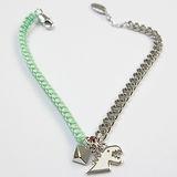 agnes b. 恐龍造型銀鍊混搭綠色編織手鍊