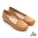 A.S.O 舒適通勤 全真皮手工縫線奈米休閒鞋(卡其)