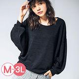 日本Portcros 現貨-縮口飛鼠袖針織上衣(條紋/M)