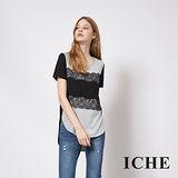 ICHE 衣哲 蕾絲雕花拼接前短後長造型T恤上衣