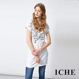 ICHE 衣哲 時尚鉚釘長版造型T恤上衣 兩色