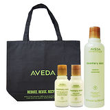 AVEDA 迷迭/薄荷洗髮精250ml+迷迭/薄荷沐浴乳50ml+迷迭/薄荷美體乳液50ml+側背購物包