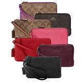 【COACH】馬車LOGO皮革雙層拉鍊手拿包(7色)