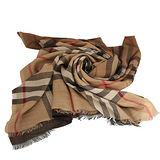 BURBERRY 經典格紋雙色漸層絲羊毛長披巾(駝色/咖啡色)