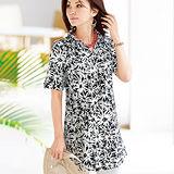 日本Portcros 現貨-折縫襯衫領印花長版上衣(象牙色系花/L)