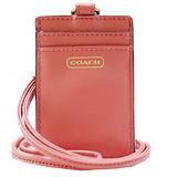 COACH 燙金logo雙層皮革掛式證件/票卡夾-粉橘F68075