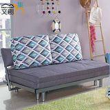 【文創集】米森諾 時尚灰亞麻布二用沙發/沙發床(拉合式機能設計)