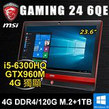 微星 Gaming 24 6QE-5PK1 23.6吋 (i5-6300HQ/4GB DDR4/120G M.2+1TB SATA HDD/ GTX960M 4G DDR5/WIN10)