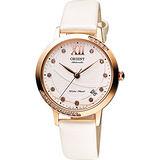 ORIENT 東方 時尚風采晶鑽機械腕錶-白x玫瑰金/36mm FER2H003W