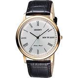 ORIENT 都會極簡羅馬石英腕錶-銀x玫瑰金框/40mm FUG1R006W