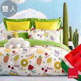 La mode寢飾 鮮果派對環保印染精梳棉床包枕套三件組(雙人)