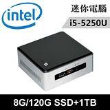 Intel NUC5I5RYH-08121N 特仕版 迷你電腦(i5-5250U/8G/120G SSD+1TB)
