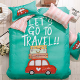 【生活提案】大版特色柔絲絨雙人四件式被套床包組-夢幻旅行