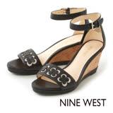 NINE WEST--雕花楔型涼鞋--百搭黑
