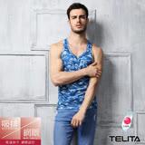 【TELITA】男內衣~吸溼涼爽迷彩網眼挖背背心--藍色