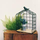 【收納職人】Zakka日系雜貨風仿舊斑駁小鳥鐵線編織籃/裝飾收納架