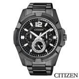 CITIZEN星辰 賽車手三眼黑色鋼帶男仕手錶 AG8335-58E