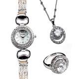 【威妮登】愛戀日月星辰晶鑽腕錶手鍊錶三件組(手錶+項鍊+戒指)