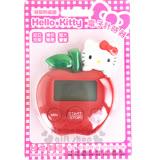 〔小禮堂〕Hello Kitty 造型計時器《紅.蘋果.大臉》背部附磁鐵
