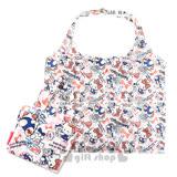 〔小禮堂〕Hello Kitty 折疊式環保購物袋《白.愛心.小熊.藍吊帶褲》附收納提袋