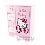 〔小禮堂〕Hello Kitty 直抽拉門置物盒《粉白.格紋蝴蝶結.大臉.AE11-0341》桌面收納小幫手