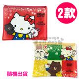 〔小禮堂〕Kitty X Line熊大 A4單層文件資料袋《L.2款隨機出貨.紅/黃》網狀透明拉鍊袋