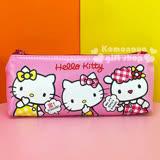 〔小禮堂〕Hello Kitty 皮質拉鍊筆袋《粉.格紋衣服.朋友》增添學習樂趣