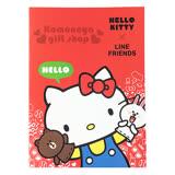 〔小禮堂〕Kitty X Line 筆記本《紅.多角色.手偶.16k》橫條紋內頁