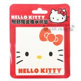 〔小禮堂〕Hello Kitty 陶瓷杯墊《方形.白.大臉.紅蝴蝶結》速乾吸水