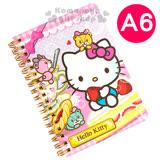 〔小禮堂〕Hello Kitty 線圈筆記本《A6.粉.草莓蛋糕.彩虹熊》橫條紋內頁