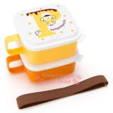 〔小禮堂〕布丁狗 日製單耳保鮮盒組《2入.方型.黃橘.P.小栗鼠.點點》附彈性束帶