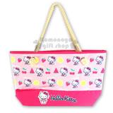 〔小禮堂〕Hello Kitty 側肩背袋《粉.側坐.泳裝.水果.滿版》棉麻繩提帶