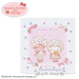 〔小禮堂〕Hello Kitty X Strawberry Shortcake 方形毛巾《白粉.草莓.點點.蝴蝶結.34x35cm》