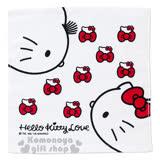 〔小禮堂〕Hello Kitty 方形毛巾《白.大臉.Deniel.紅蝴蝶結》34x35cm.以愛之名系列