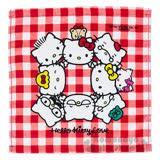 〔小禮堂〕Hello Kitty 方形毛巾《紅白格紋.Q版.家人們》34x35cm.以愛之名系列