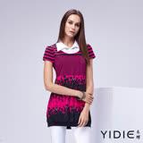 【YIDIE衣蝶】襯衫領假兩件式條紋人物上衣