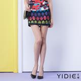 【YIDIE衣蝶】亮眼彩繪菱格紋短裙