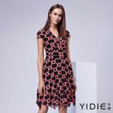【YIDIE衣蝶】幾何圖雪紡束腰短洋裝